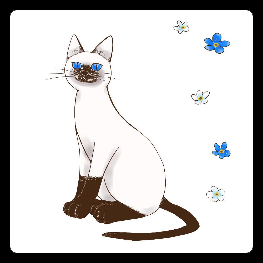 青い目の猫と勿忘草コースター 白雲石コースター 四角