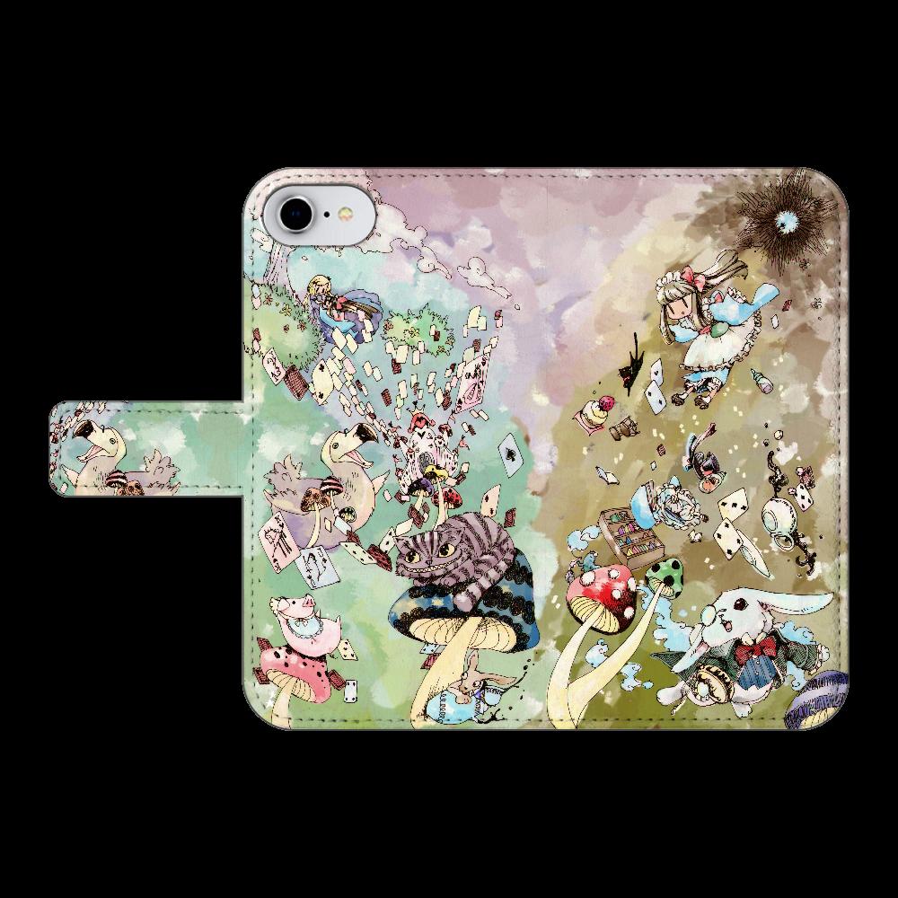 不思議の国のアリス iPhone6/6s 手帳型スマホケース ベルトあり3ポケット
