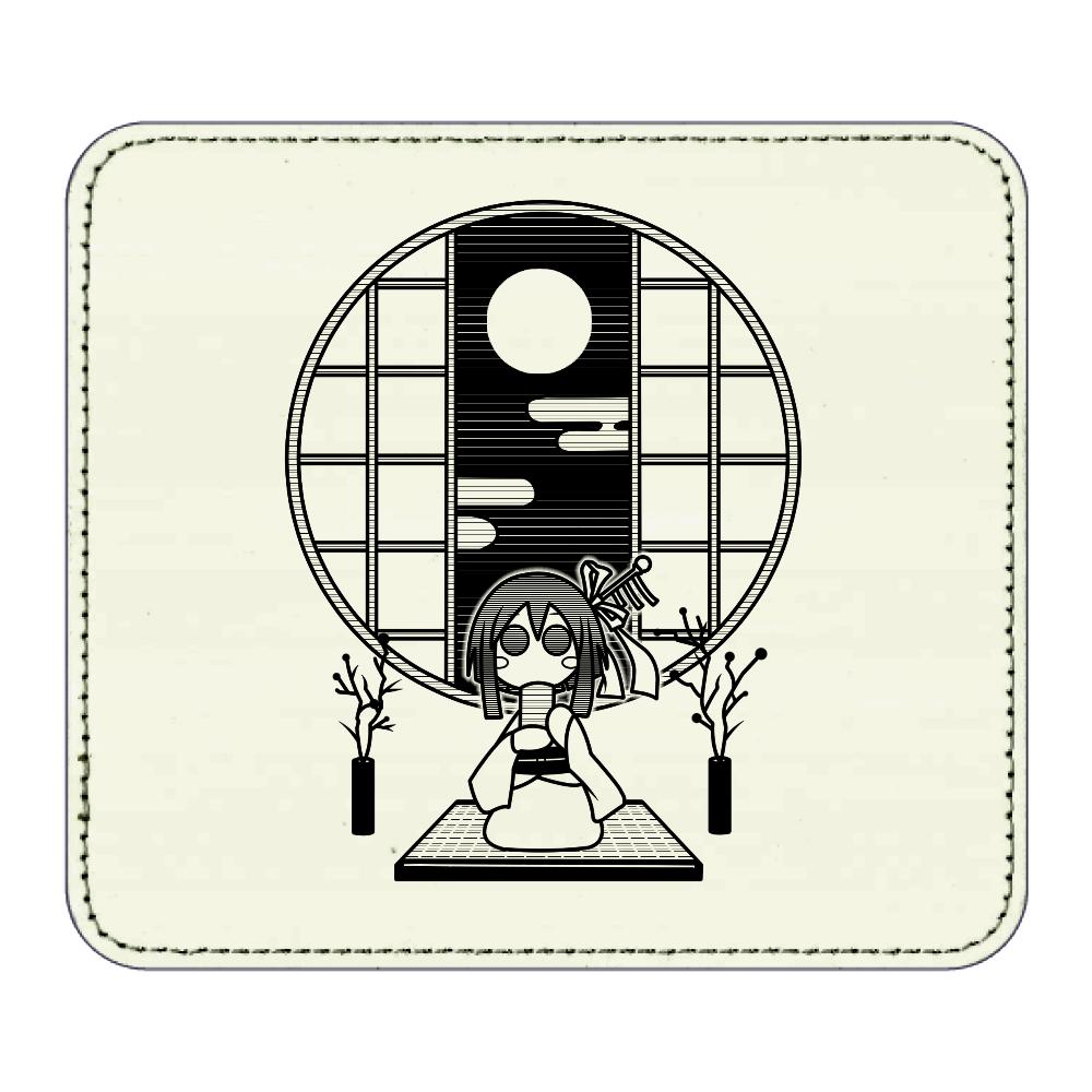 和室でお茶 マウスパッド レザーマウスパッド(スクエア)