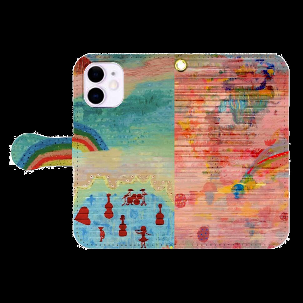シャッターペイント『虹』 iPhone12mini 手帳型スマホケース