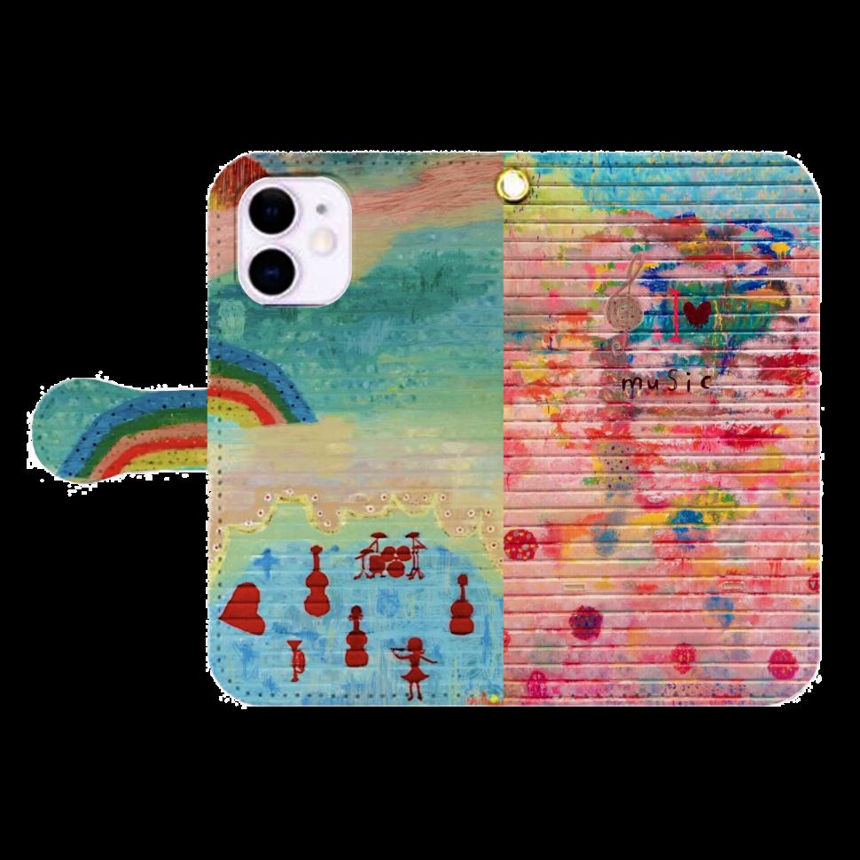 シャッターペイント『I❤️music』 iPhone12mini 手帳型スマホケース