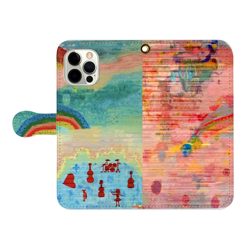 シャッターペイント『虹』 iPhone12pro max 手帳型スマホケース