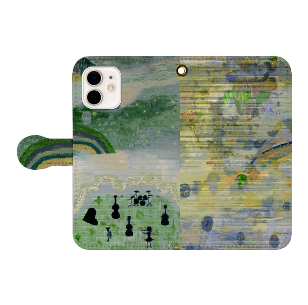 シャッターペイント『森の音楽家』 iPhone12/12pro 手帳型スマホケース