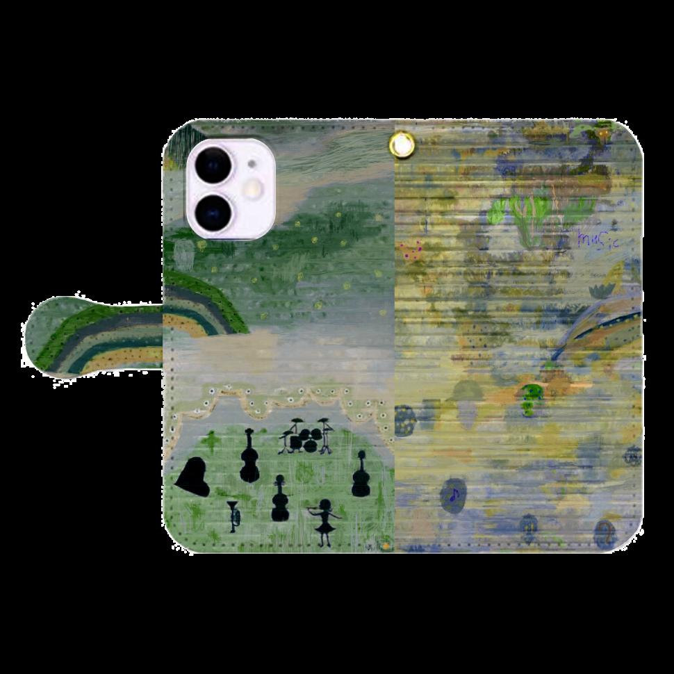 シャッターペイント『森の音楽家』 iPhone12mini 手帳型スマホケース
