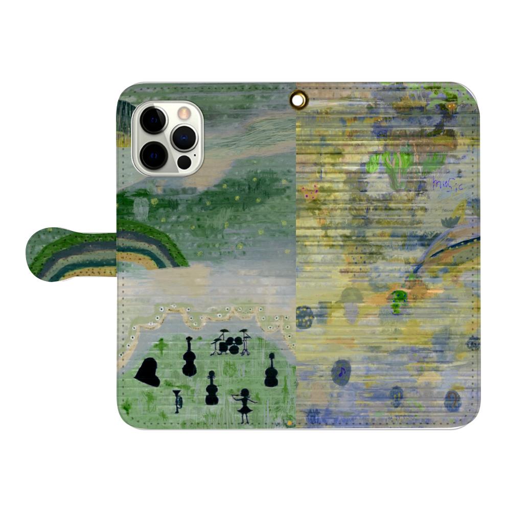 シャッターペイント『森の音楽家』 iPhone12pro max 手帳型スマホケース