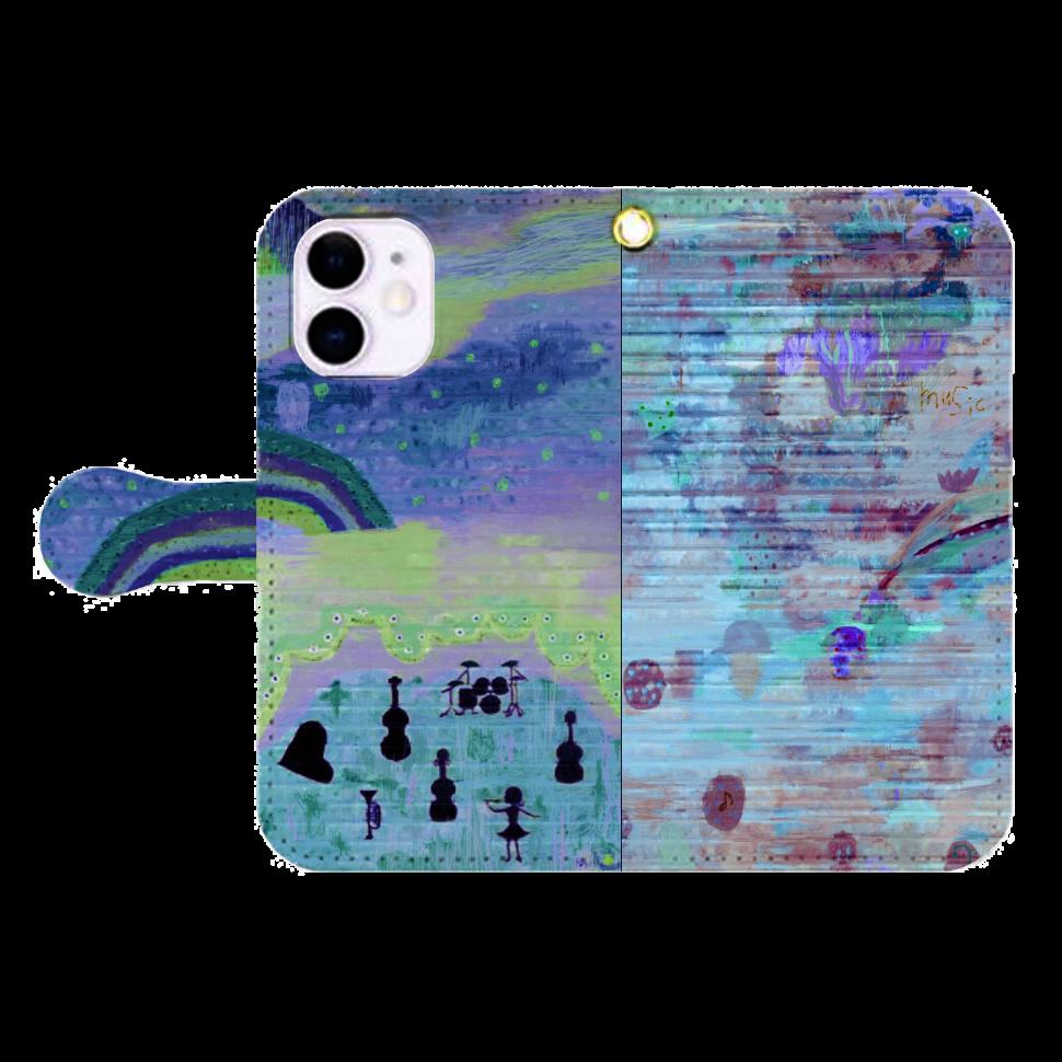 シャッターペイント『夜の音楽家』 iPhone12mini 手帳型スマホケース