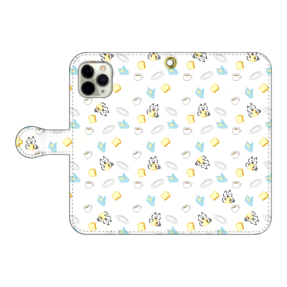 ねこみたいないぬ パン派  iPhone11 Pro 手帳型スマホケース(ホワイト) iPhone11 Pro 手帳型スマホケース