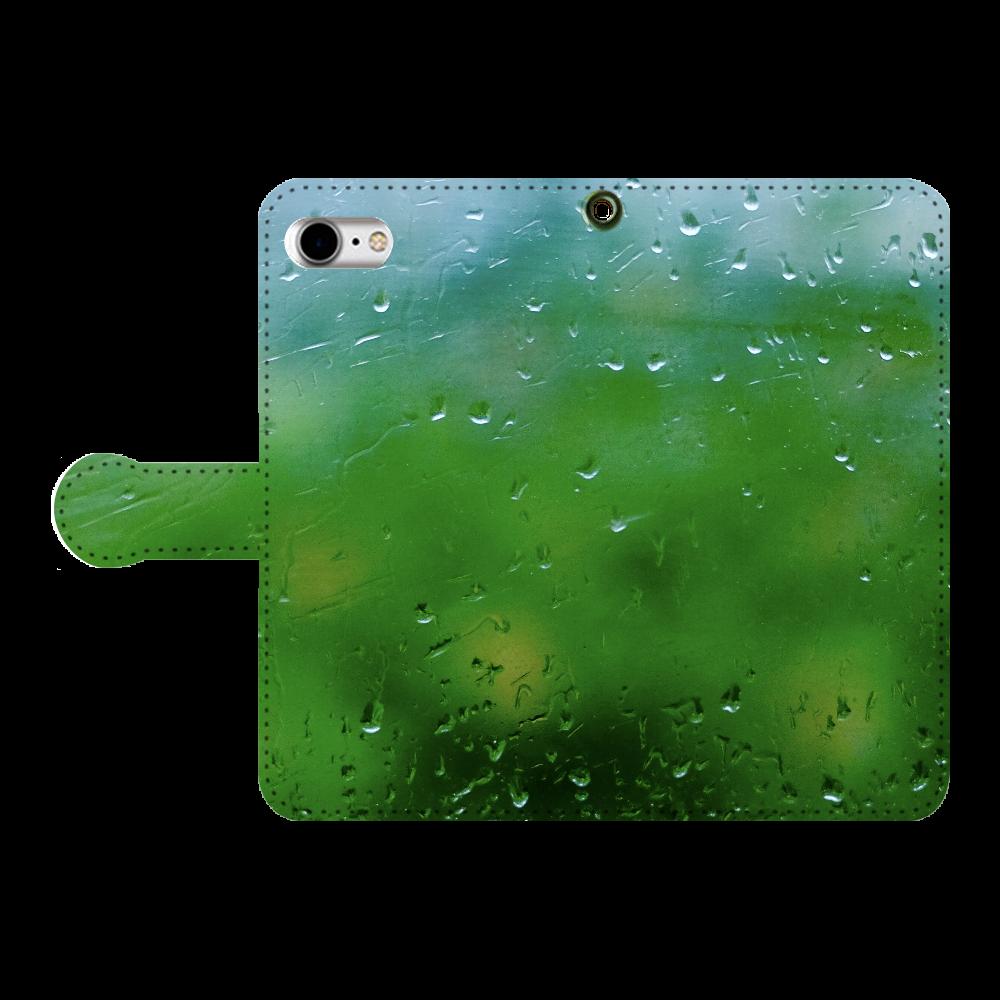 雨と雫と緑 手帳型ベルト付きiPhone8