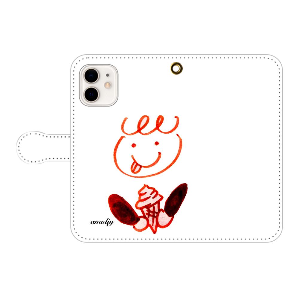 ぺろくるくんアイスをペロリ iPhone12/12pro 手帳型スマホケース