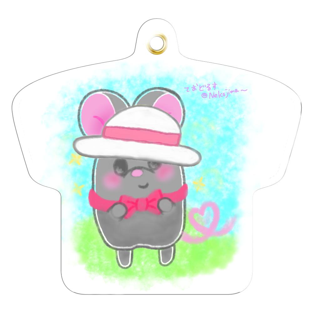 ねずみのテオ❁Tシャツなキーホルダー♡(お外) レザーキーホルダー(Tシャツ型)