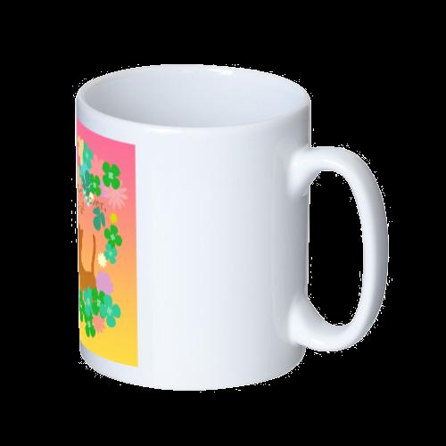 クローバーと小花と猫のイラスト マグカップ  ホワイト