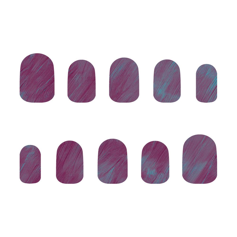 紫×水色 ネイルチップM