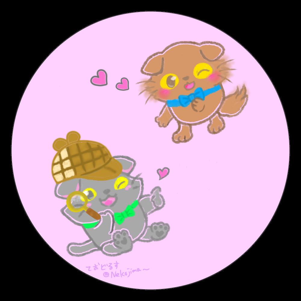 ねこのニャッホと❁吸水コースター❍(ピンク) 白雲石コースター 丸