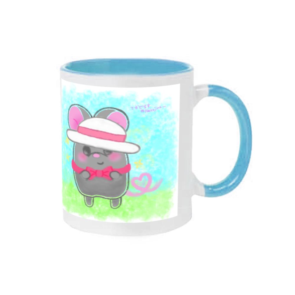 ねずみのテオとワトソン❁全5色♡表と裏にイラストあります♡(・ﻌ・) 2トーンマグカップ