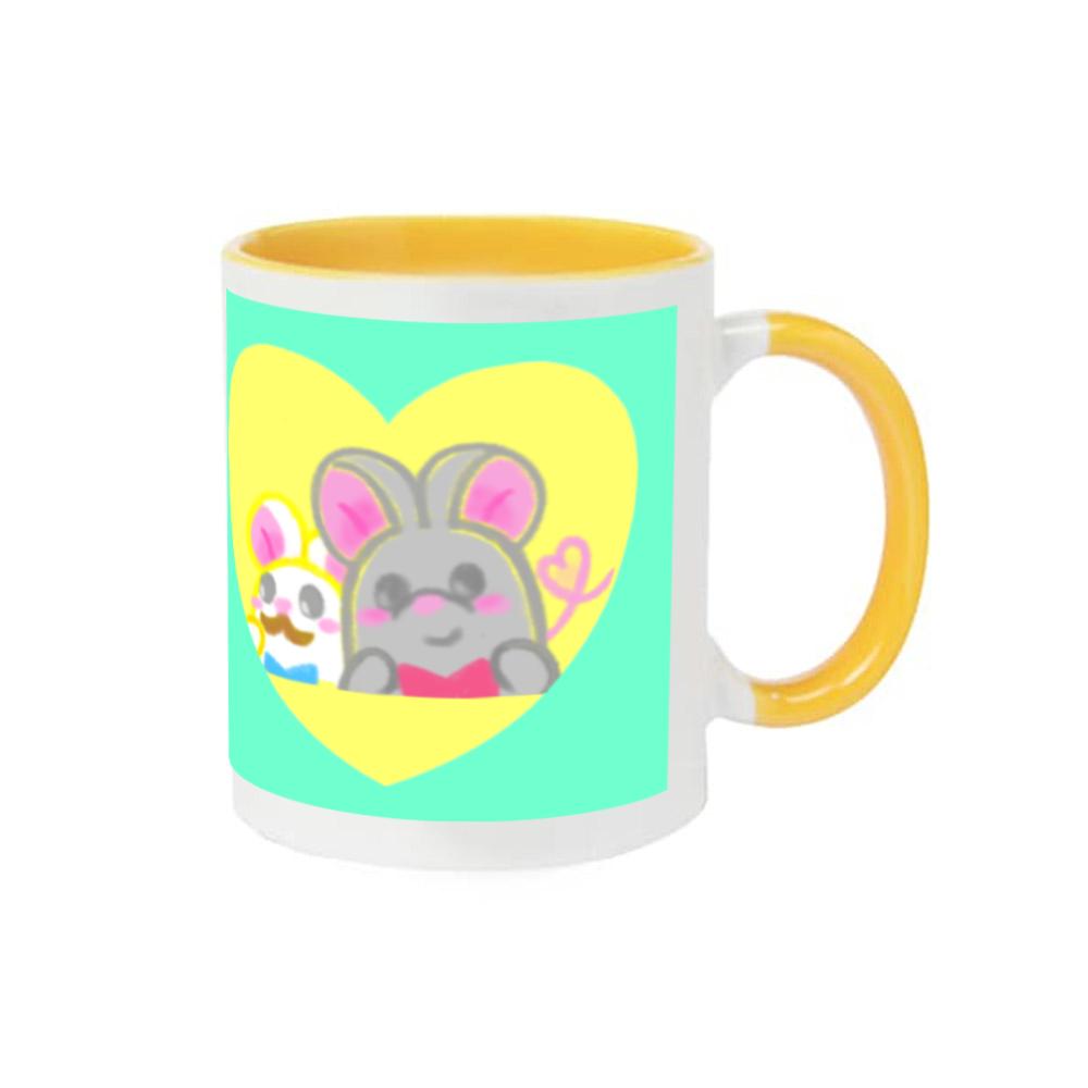 ねずみのテオ❁全5色♡表と裏にイラストあります♡(・ﻌ・) 2トーンマグカップ