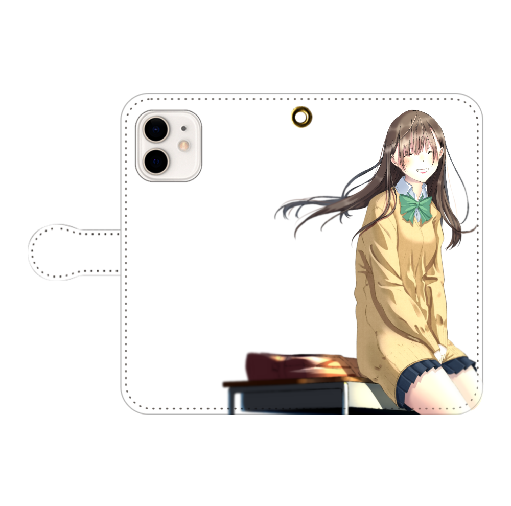 iPhone12/12 Pro_「君の笑顔(キャラ)」 iPhone12/12pro 手帳型スマホケース