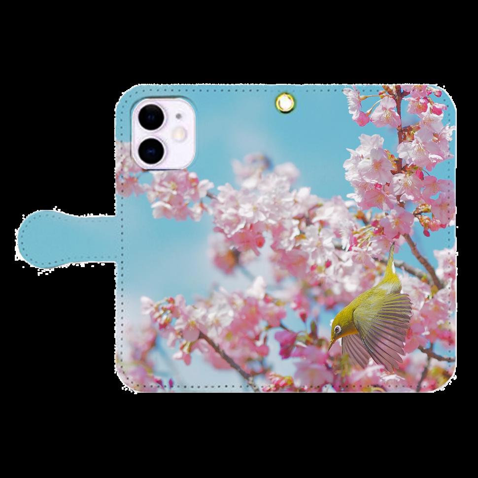メジロと桜 iPhone12mini 手帳型スマホケース