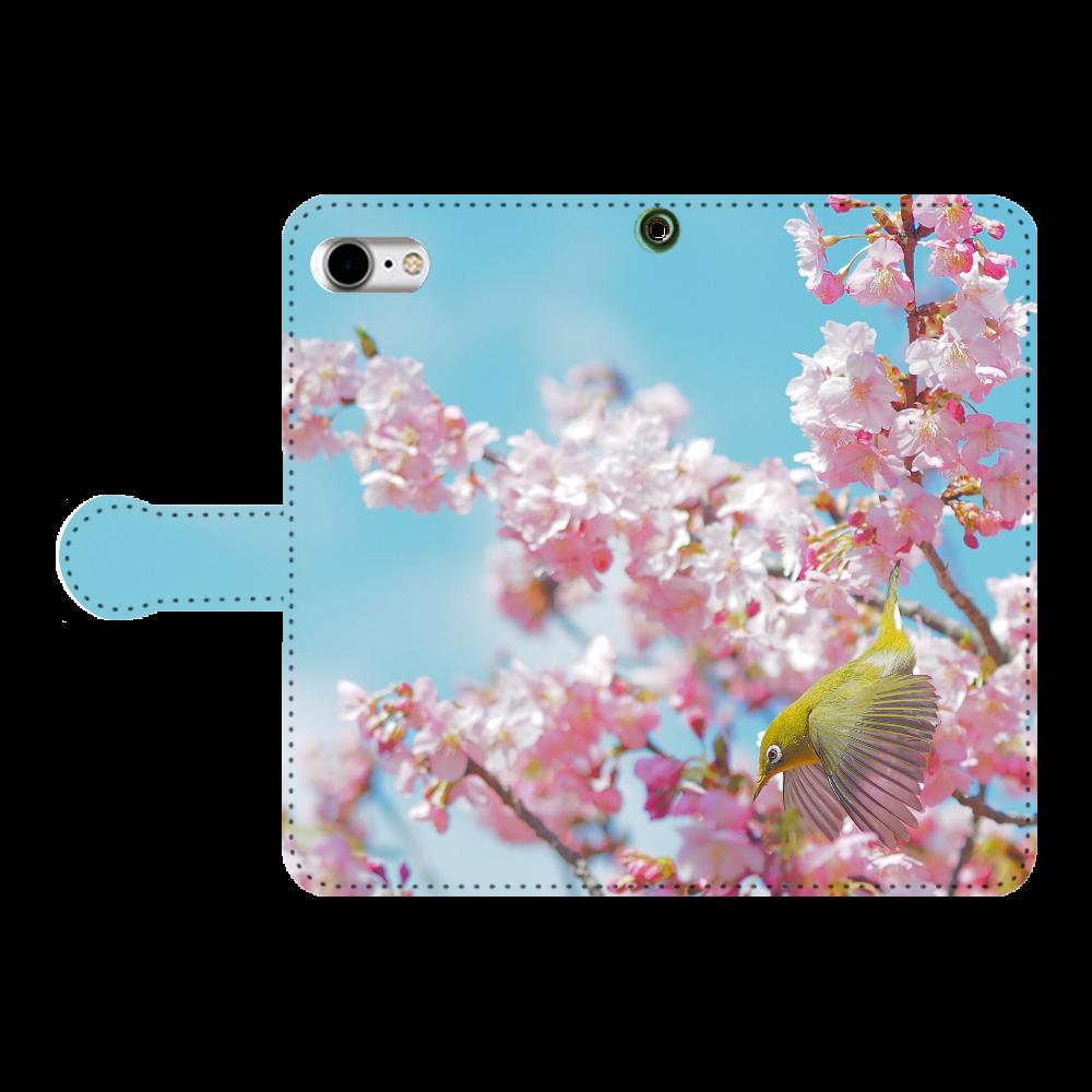 メジロと桜 手帳型ベルト付きiPhone8