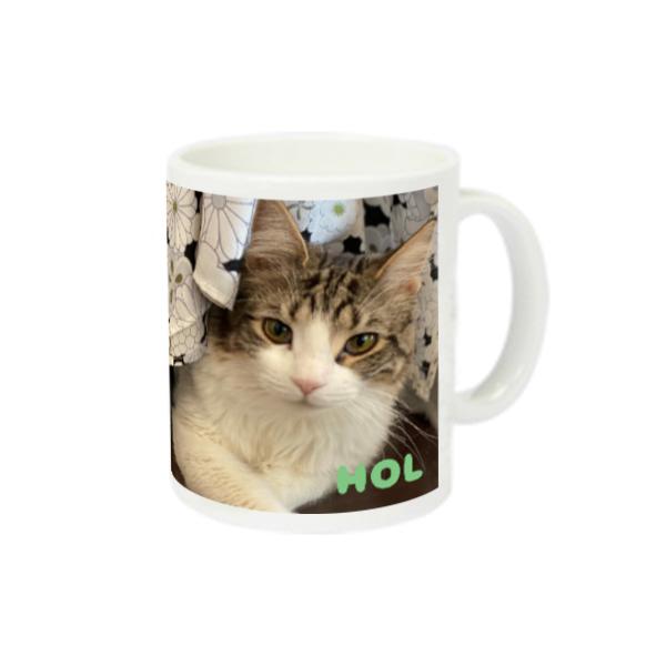 (☆猫ラジ応援グッズ☆)ウシちゃんの猫ラジマグカップ♪ スーパーホワイトマグカップV1