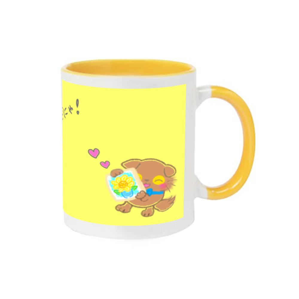 ねこのニャッホ❁全5色♡表と裏にイラストあるにゃ♪≦ ↀᴥↀ ≧ 2トーンマグカップ