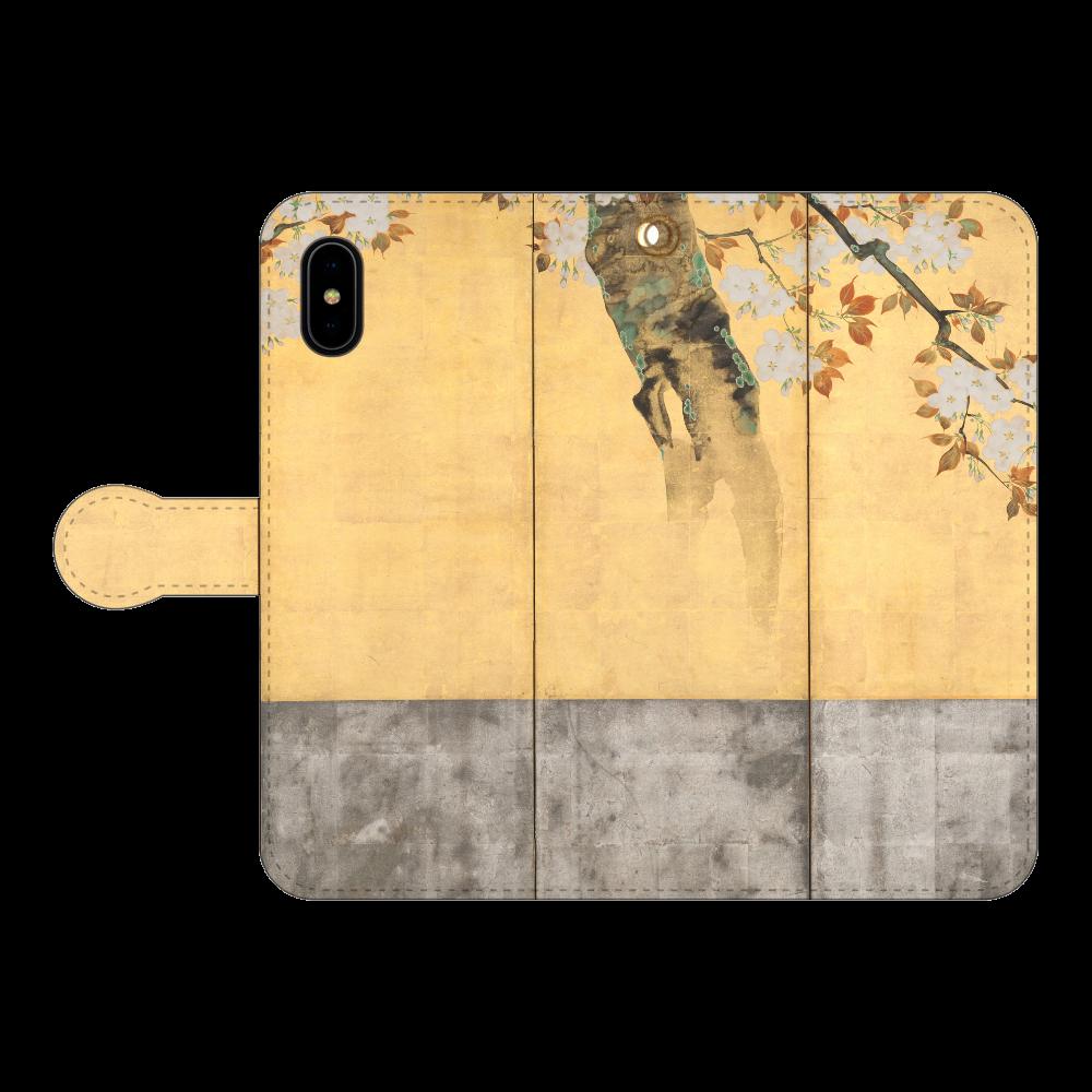 酒井抱一 桜図屏風 iPhoneX/Xs 手帳型スマホケース