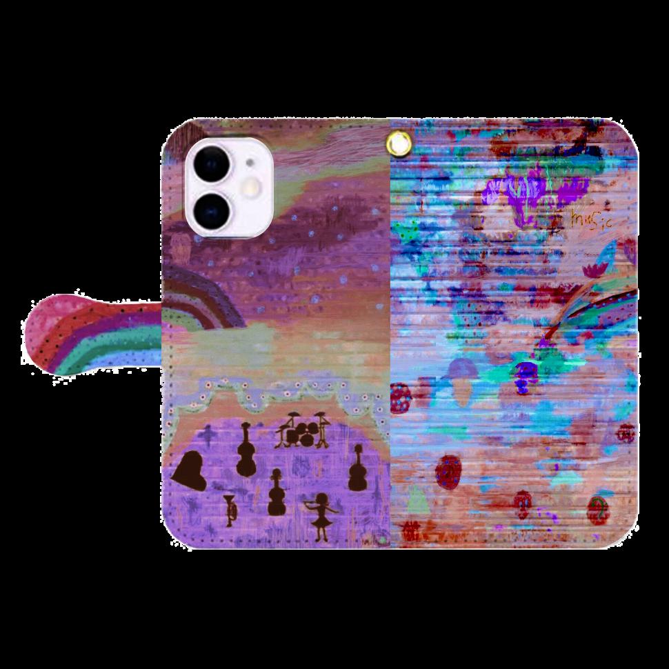 シャッターペイント『夕暮れの音楽家』 iPhone12mini 手帳型スマホケース