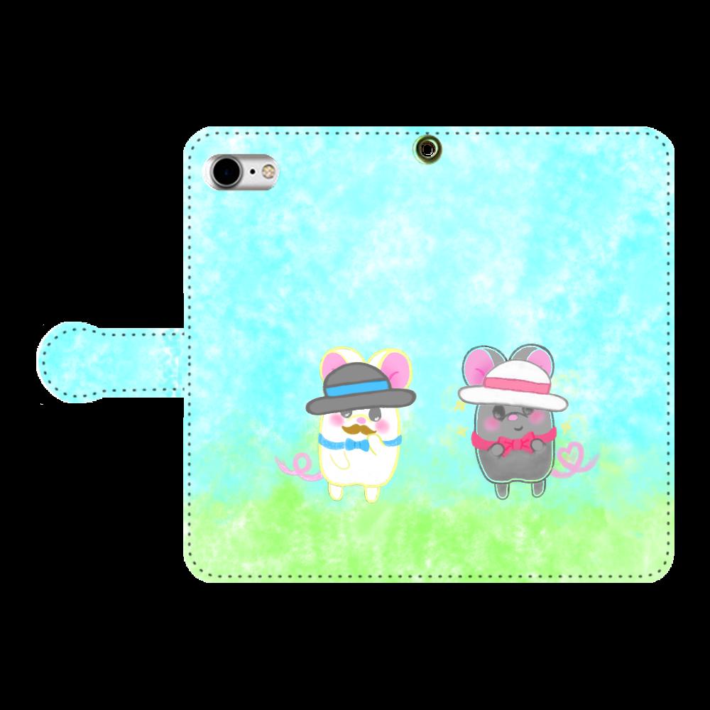 ねずみのテオと❁選べる♡iPhone手帳型スマホカバー(3ポケットタイプも選べます♡) 手帳型ベルト付きiPhone8