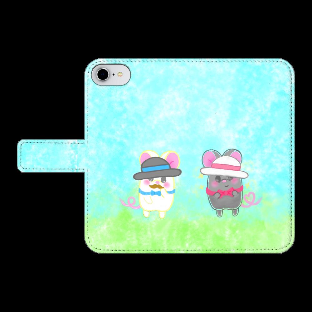ねずみのテオと❁選べる♡iPhone手帳型スマホカバー(3ポケットタイプも選べます♡) iPhone8 手帳型スマホケース ベルトあり3ポケット