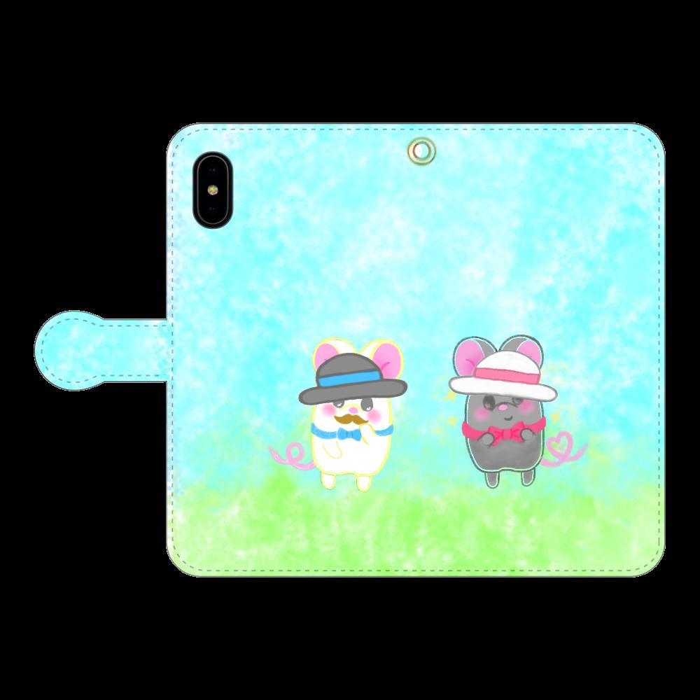 ねずみのテオと❁選べる♡iPhone手帳型スマホカバー(3ポケットタイプも選べます♡) iPhoneX/Xs 手帳型スマホケース