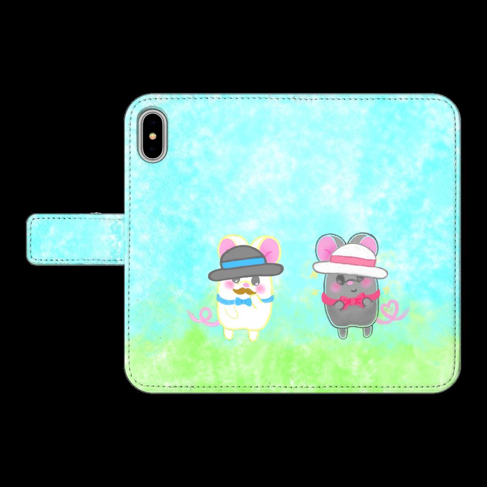 ねずみのテオと❁選べる♡iPhone手帳型スマホカバー(3ポケットタイプも選べます♡)  iPhoneX/XS 手帳型スマホケース ベルトあり3ポケット iPhoneX/XS