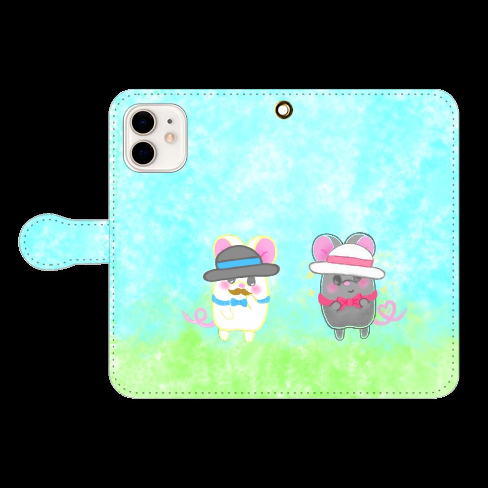 テオと♡選べる♡iPhone手帳型カバー(3ポケットタイプも選べます♡) iPhone12/12pro 手帳型スマホケース