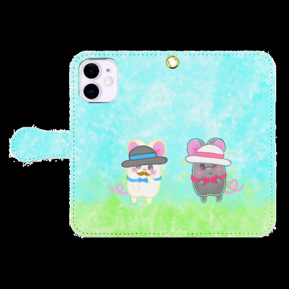 テオと♡選べる♡iPhone手帳型カバー(3ポケットタイプも選べます♡) iPhone12mini 手帳型スマホケース