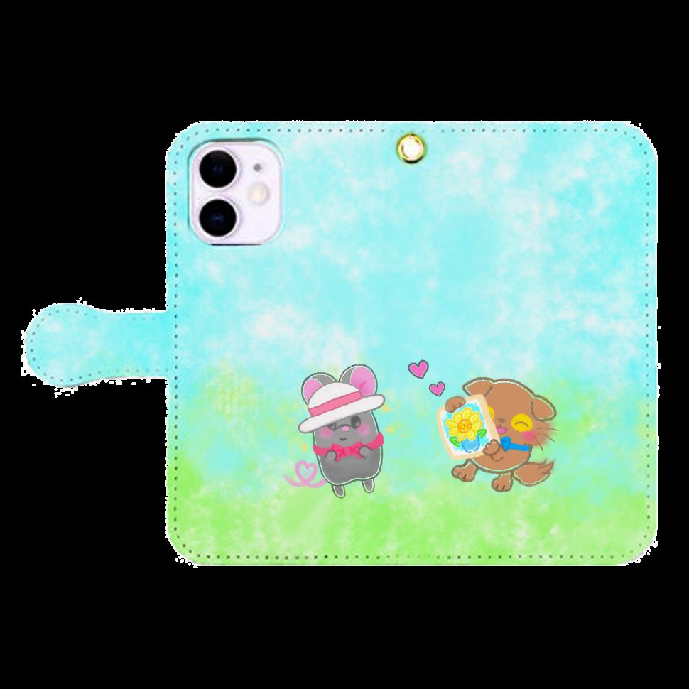 ニャッホと♡選べる♡iPhone手帳型カバー(3ポケットタイプも選べます♡) iPhone12mini 手帳型スマホケース