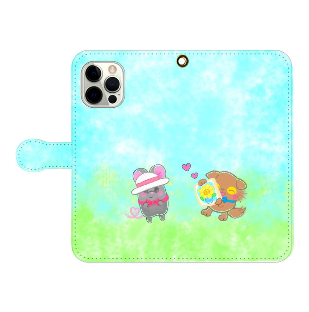 ニャッホと♡選べる♡iPhone手帳型カバー(3ポケットタイプも選べます♡) iPhone12pro max 手帳型スマホケース