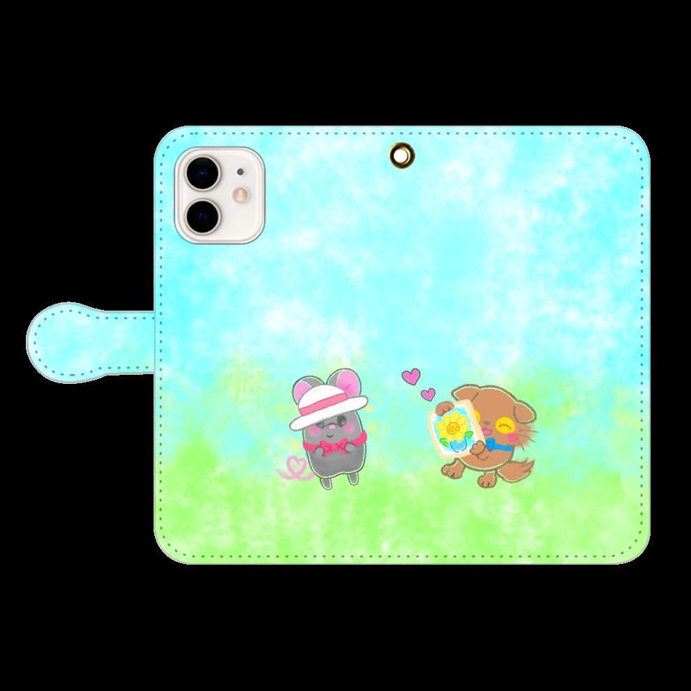 ニャッホと♡選べる♡iPhone手帳型カバー(3ポケットタイプも選べます♡) iPhone12/12pro 手帳型スマホケース