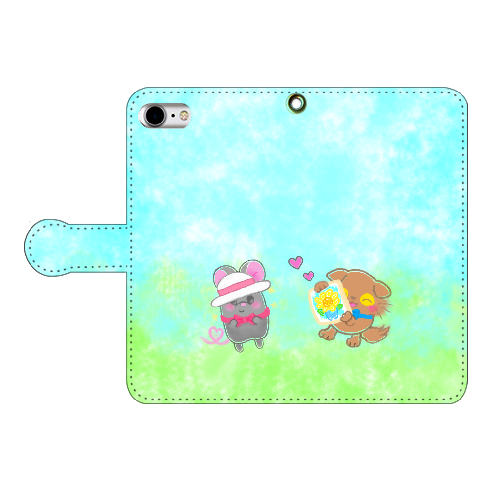 ニャッホと♡選べる♡iPhone手帳型カバー(3ポケットタイプも選べます♡) iPhoneSE2 手帳型スマホケース