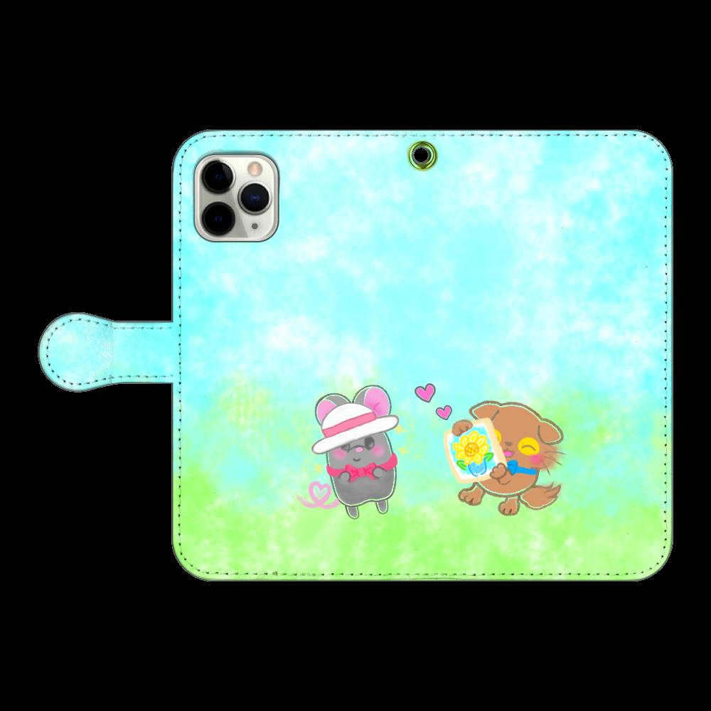 ニャッホと♡選べる♡iPhone手帳型カバー(3ポケットタイプも選べます♡) iPhone11 Pro 手帳型スマホケース