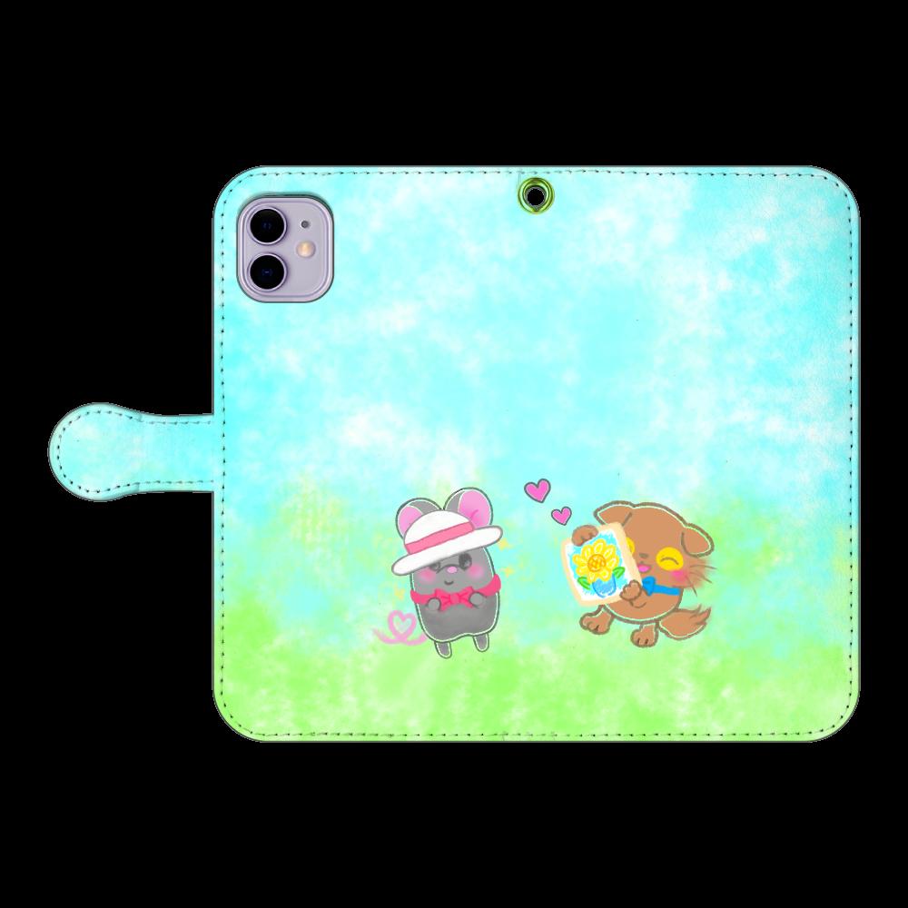 ニャッホと♡選べる♡iPhone手帳型カバー(3ポケットタイプも選べます♡) iPhone11 手帳型スマホケース