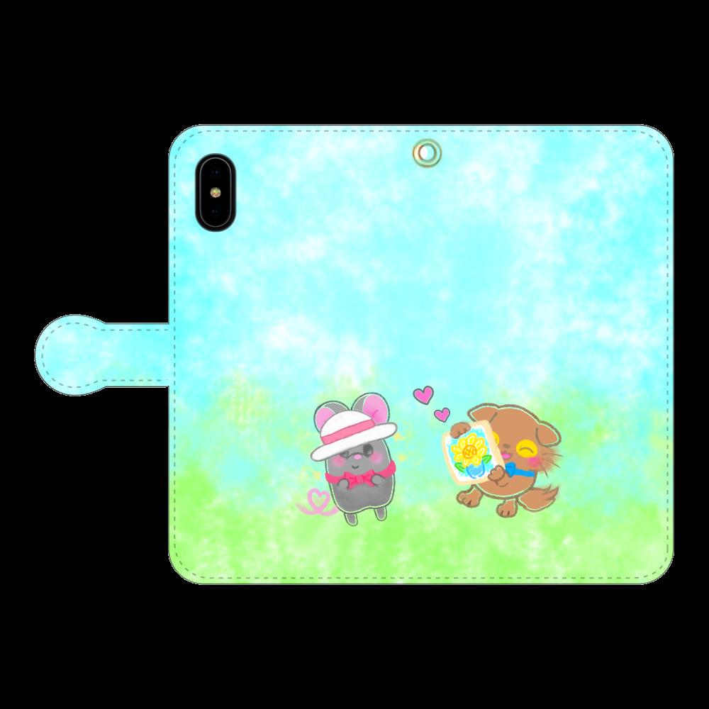 ニャッホと♡選べる♡iPhone手帳型カバー(3ポケットタイプも選べます♡) iPhoneX/Xs 手帳型スマホケース