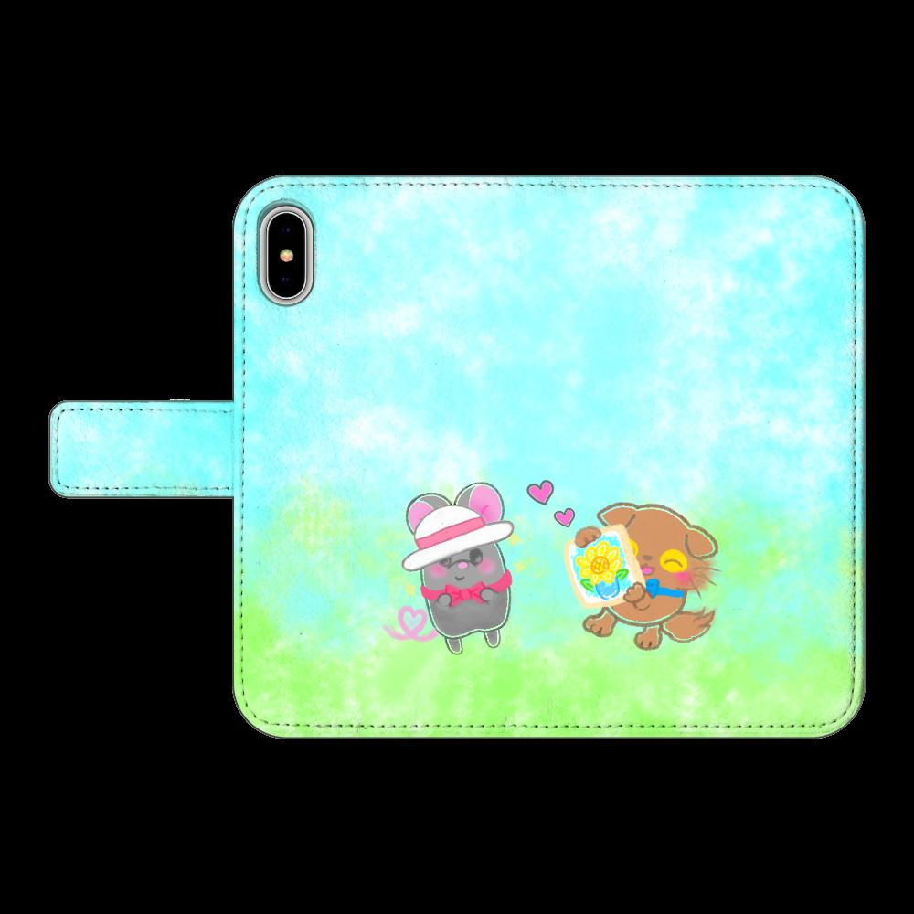 ニャッホと♡選べる♡iPhone手帳型カバー(3ポケットタイプも選べます♡)  iPhoneX/XS 手帳型スマホケース ベルトあり3ポケット iPhoneX/XS