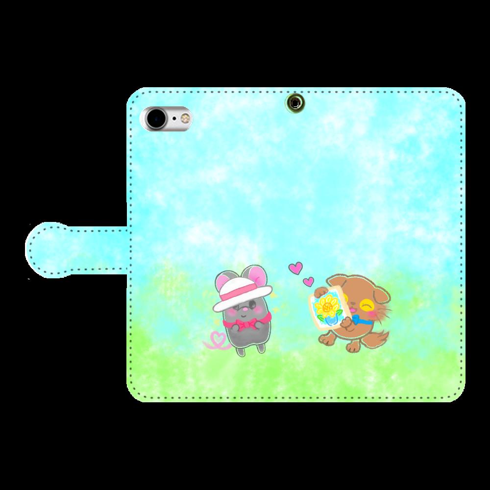 ニャッホと♡選べる♡iPhone手帳型カバー(3ポケットタイプも選べます♡) 手帳型ベルト付きiPhone8