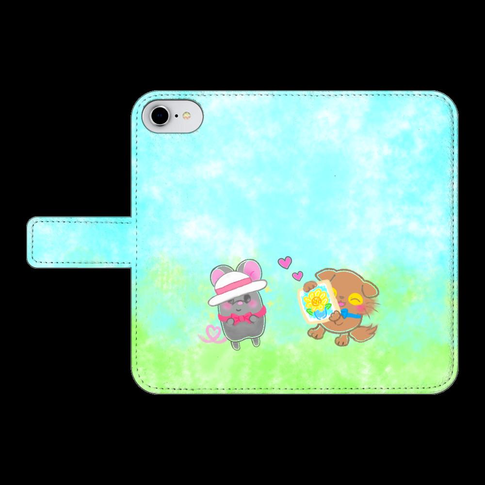 ニャッホと♡選べる♡iPhone手帳型カバー(3ポケットタイプも選べます♡) iPhone8 手帳型スマホケース ベルトあり3ポケット