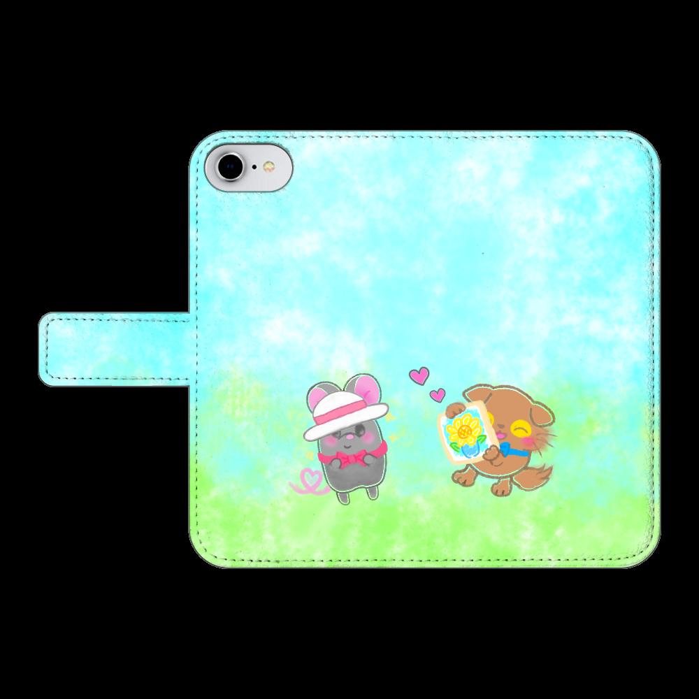 ニャッホと♡選べる♡iPhone手帳型カバー(3ポケットタイプも選べます♡) iPhone7 手帳型スマホケース ベルトあり3ポケット