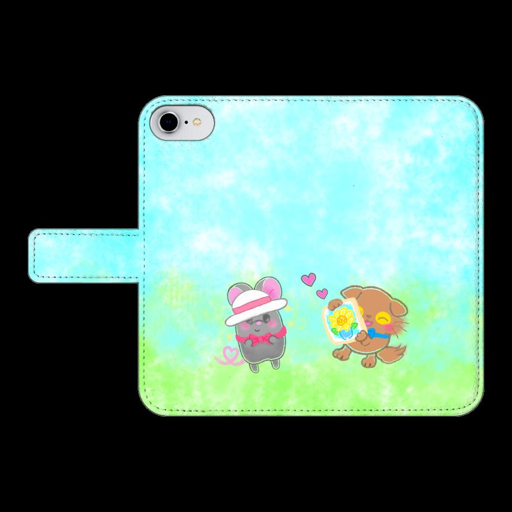 ニャッホと♡選べる♡iPhone手帳型カバー(3ポケットタイプも選べます♡) iPhone6/6s 手帳型スマホケース ベルトあり3ポケット