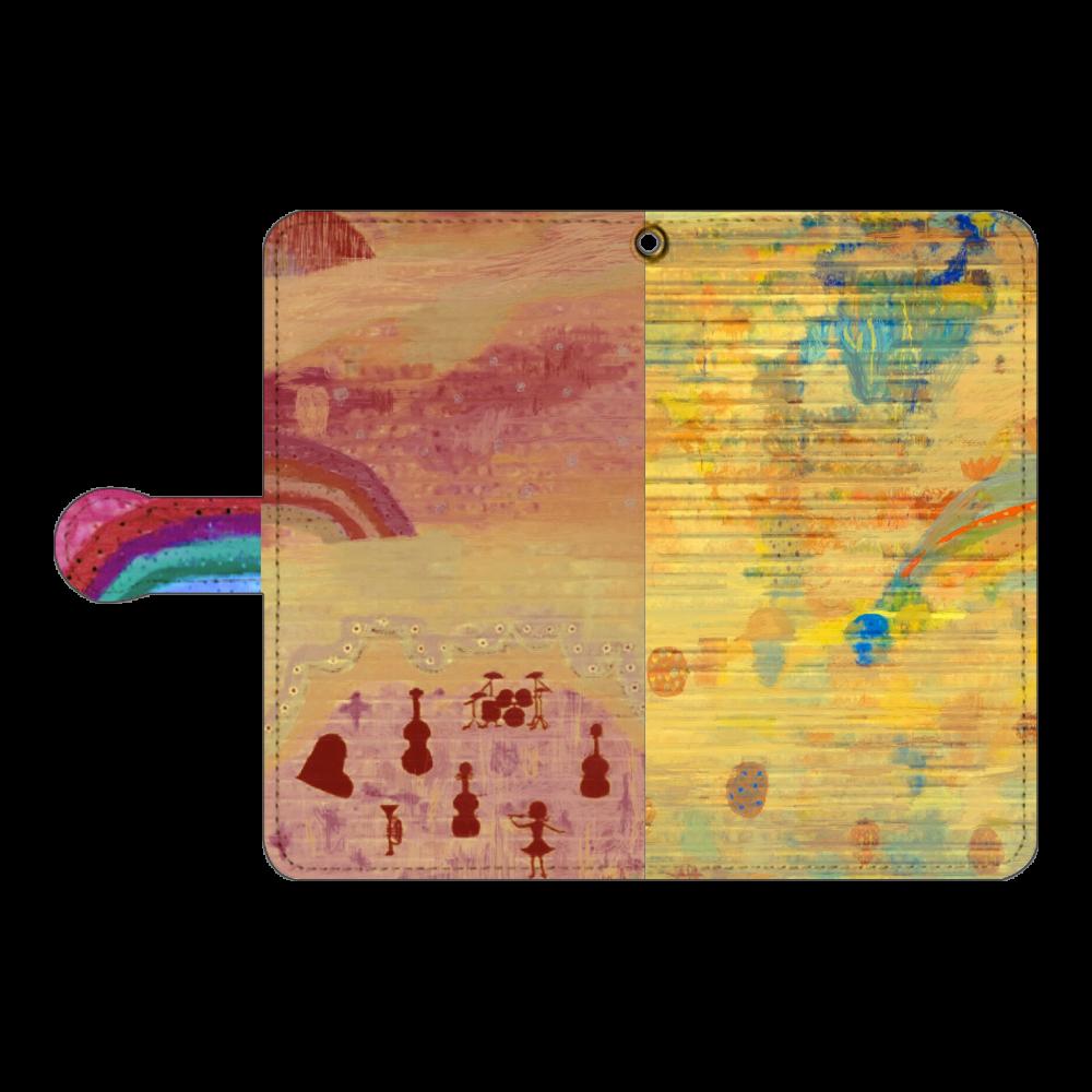シャッターペイント『朝焼けの音楽家』 手帳型ベルト付きアンドロイドM