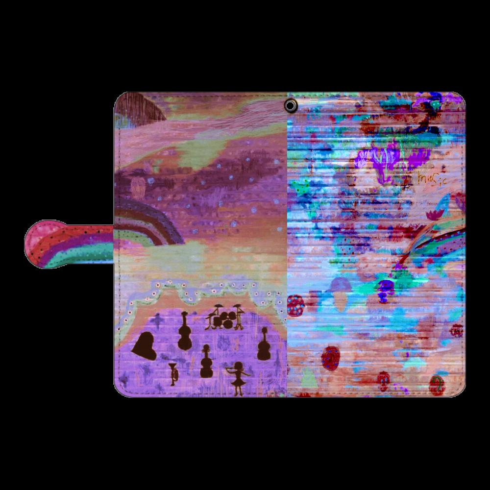 シャッターペイント『夕暮れの音楽家』 手帳型ベルト付きアンドロイドL