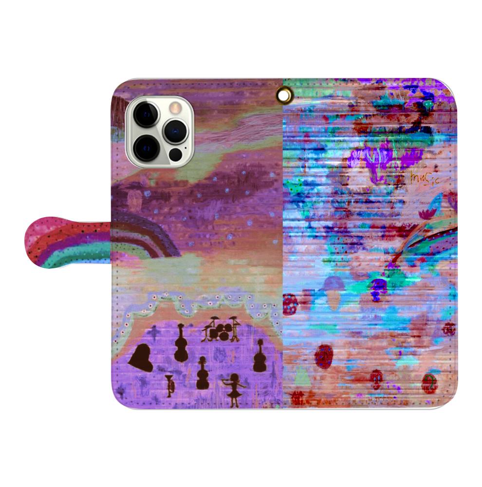 シャッターペイント『夕暮れの音楽家』 iPhone12pro max 手帳型スマホケース