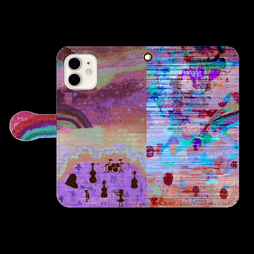 シャッターペイント『夕暮れの音楽家』 iPhone12/12pro 手帳型スマホケース