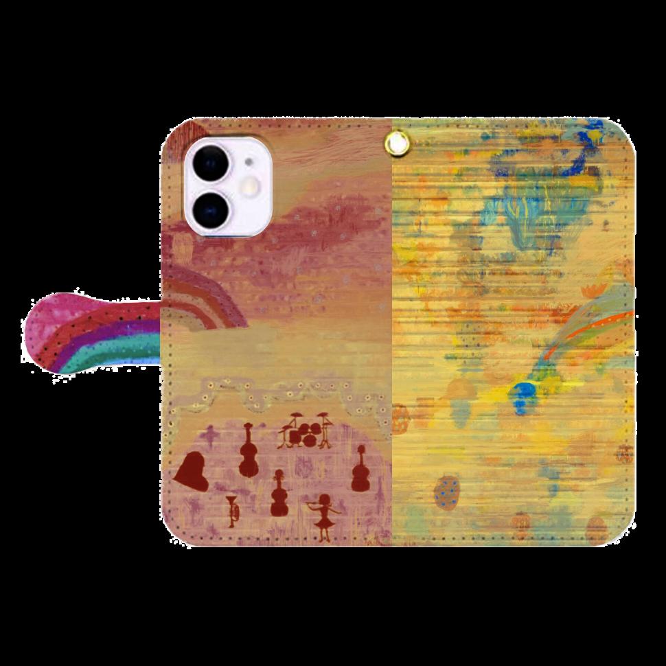 シャッターペイント『朝焼けの音楽家』 iPhone12mini 手帳型スマホケース