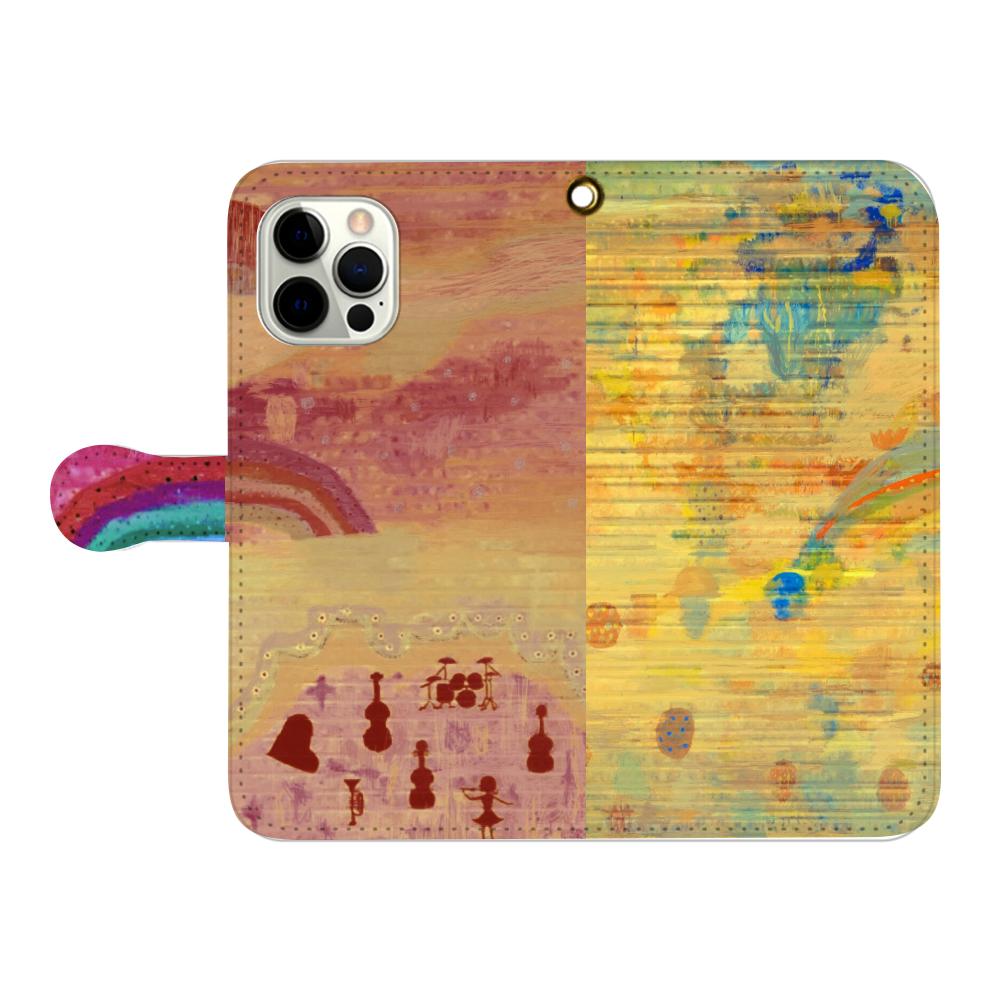シャッターペイント『朝焼けの音楽家』 iPhone12pro max 手帳型スマホケース
